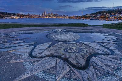 Decorative Concrete Inlay, Gasworks Park Looking At Seattle City Skyline, As Sun Sets In Washington-Jay Goodrich-Photographic Print