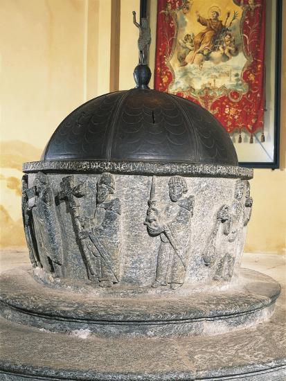 Decorative Detail of 12th Century Stone Baptismal Font, Baptistery of San Lorenzo, Chiavenna, Italy--Giclee Print
