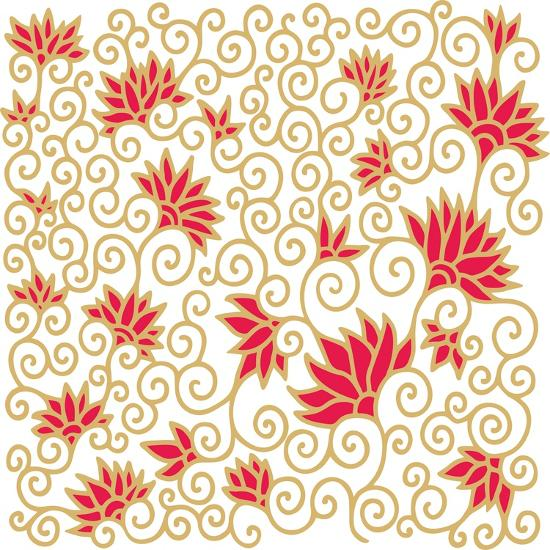 Decorative Floral Composition with Pomegranate Flowers-aniana-Art Print