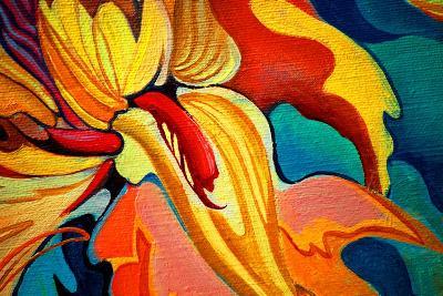 Decorative Flower Painting by Oil on Canvas, Illustration-Mikhail Zahranichny-Art Print
