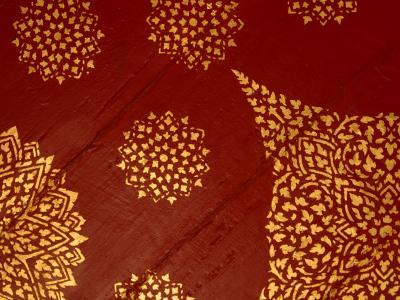 Decorative Gold Pattern on Ornate Red Textile--Photographic Print