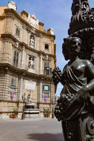 Decorative Lamp Post and Piazza Quattro Canti in Palermo, Sicily, Italy, Europe-Martin Child-Photographic Print