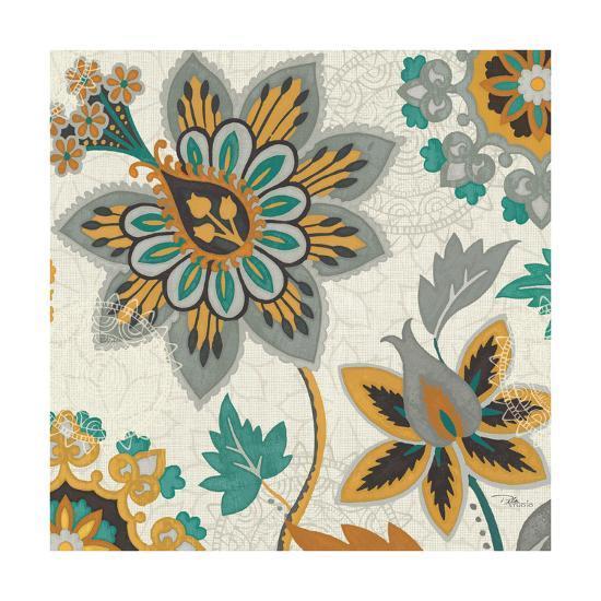Decorative Nature III Turquoise Cream-Pela Design-Art Print