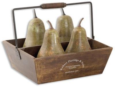 Decorative Pears In Basket Set