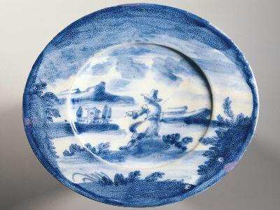 Decorative Plate with Male Figure in Landscape--Giclee Print