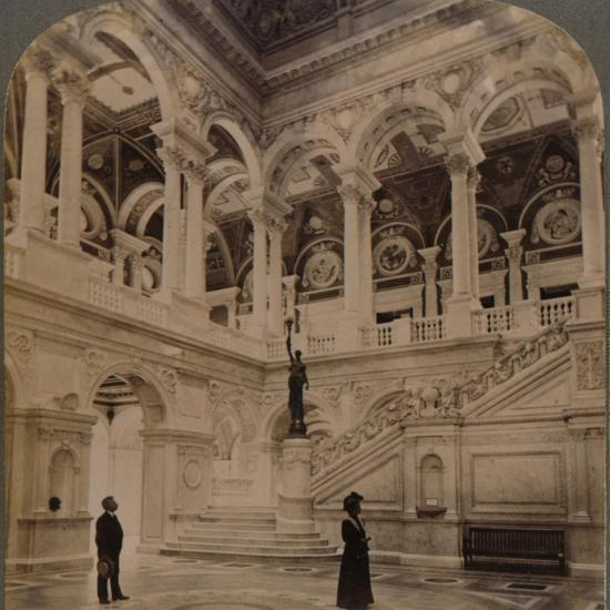 'Decorative splendors of the Entrance Hall of the great Congressional Library, Washington, U.S.A.'-Unknown-Photographic Print