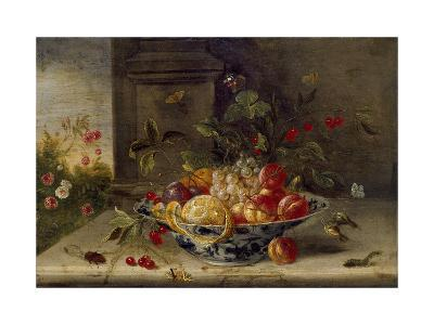 Decorative Still-Life Composition with a Porcelain Bowl, Fruit and Insects-Jan van Kessel the Elder-Giclee Print