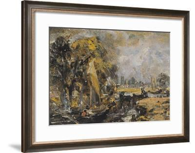 Dedham Lock, C.1819 (Oil on Paper Laid on Canvas)-John Constable-Framed Giclee Print