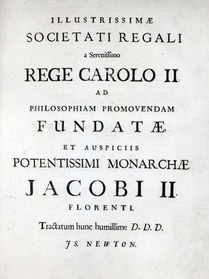 Dedication to Royal Society, First Edition of Newton's Philosophiae  Naturalis Principia Mathematica Giclee Print by   Art com