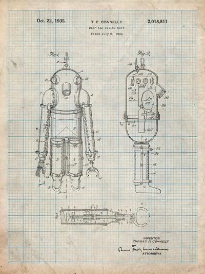 Deep Sea Diving Suit Patent-Cole Borders-Art Print