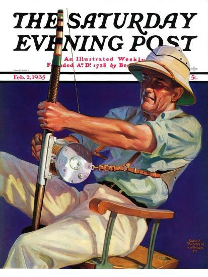 """Deep Sea Fisherman,"" Saturday Evening Post Cover, February 2, 1935-Edgar Franklin Wittmack-Giclee Print"