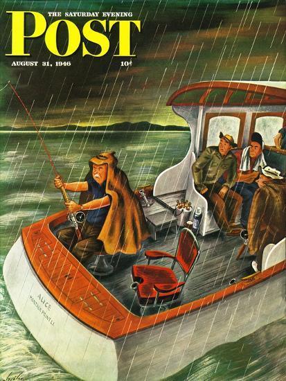 """Deep Sea Fishing in Rain,"" Saturday Evening Post Cover, August 31, 1946-Constantin Alajalov-Giclee Print"
