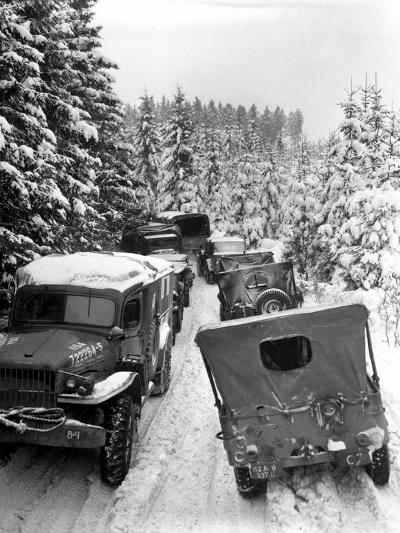 Deep Snow Banks On a Narrow Road Halt Military Vehicles in Belgium-Stocktrek Images-Photographic Print