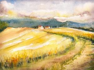 Country Landscape with Typical Tuscan Hills in Italy. Watercolors Painting. by DeepGreen