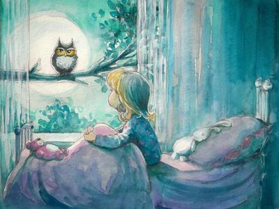 Girl in Her Bed Looking at Owl on a Tree.Picture Created with Watercolors