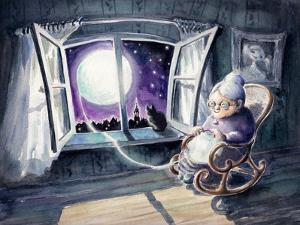 Grandmother Knitting a Sweater with a Lunar Light.Picture Created with Watercolors. by DeepGreen