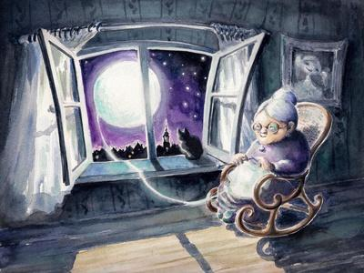 Grandmother Knitting a Sweater with a Lunar Light.Picture Created with Watercolors.