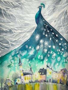 Watercolors Abstract Illustration of Peacock as Night Sky over City. by DeepGreen