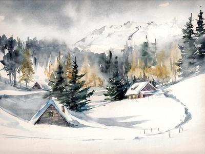Winter Landscape with Mountain Village Covered with Snow. Picture Created with Watercolors on Paper