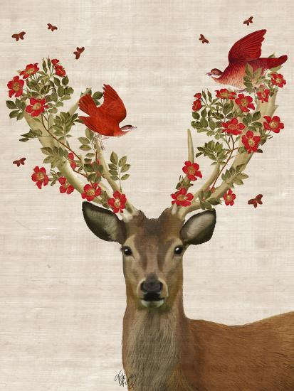 Deer and Love Birds-Fab Funky-Premium Giclee Print