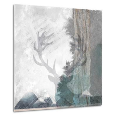 Deer and Mountains 1-Louis Duncan-He-Metal Print