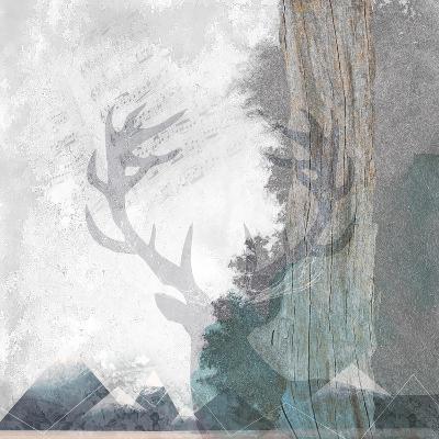 Deer and Mountains 1-Louis Duncan-He-Art Print