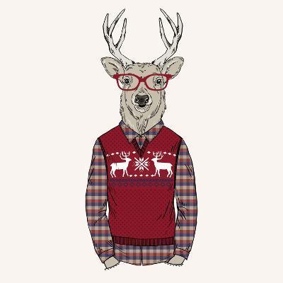 Deer Dressed up in Pullover-Olga_Angelloz-Art Print