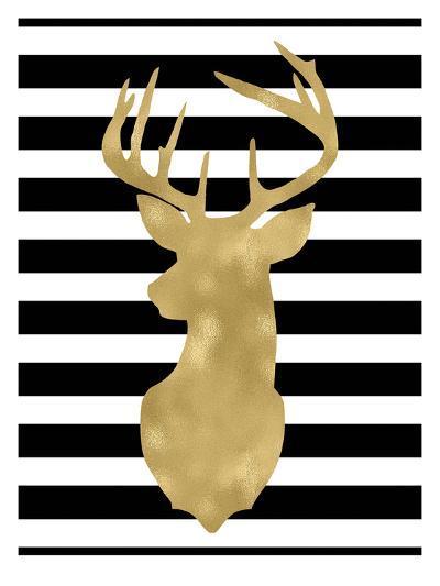 Deer Head Left Face Black White Stripe-Amy Brinkman-Art Print