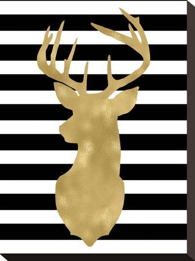 Deer Head Left Face Black White Stripe-Amy Brinkman-Stretched Canvas Print