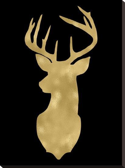 Deer Head Left Face Golden Black-Amy Brinkman-Stretched Canvas Print