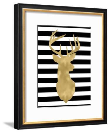 Deer Head Right Face Black White Stripe-Amy Brinkman-Framed Art Print