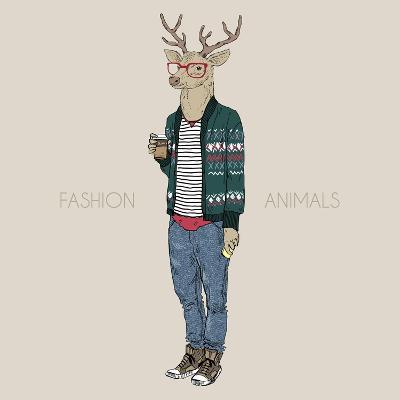 Deer Hipster Drinking Coffee-Olga_Angelloz-Art Print