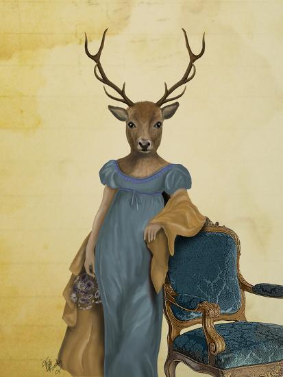 Deer in Blue Dress-Fab Funky-Art Print