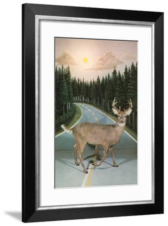 Deer in Headlights, Retro--Framed Art Print