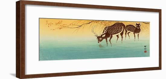Deer in Shallow Water-Koson Ohara-Framed Premium Giclee Print