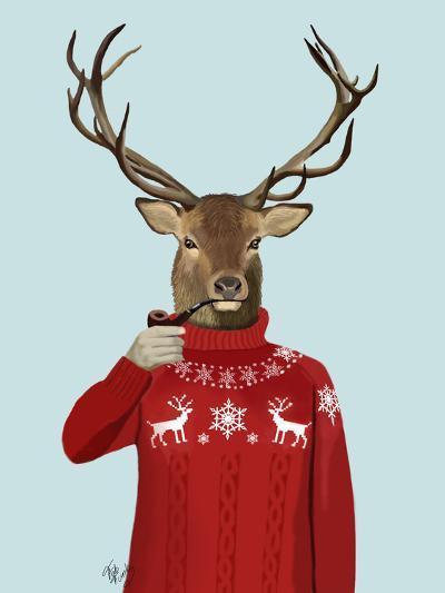 Deer in Ski Sweater-Fab Funky-Premium Giclee Print