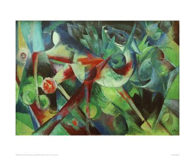Deer in the Flower Garden-Franz Marc-Giclee Print