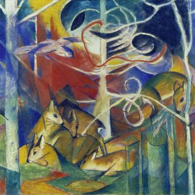 Deer in the Forest I, 1913-Franz Marc-Giclee Print