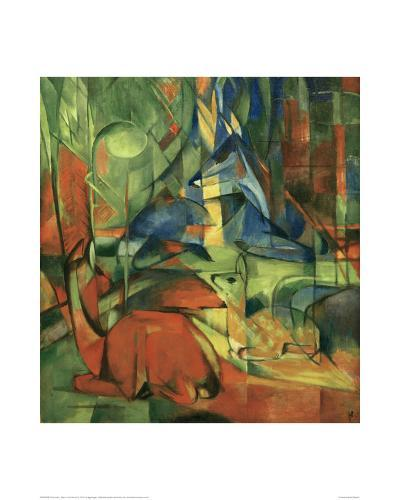 Deer in the forest II 1914-Franz Marc-Giclee Print