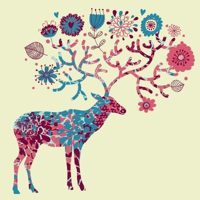 Deer Made of Flowers-smilewithjul-Art Print
