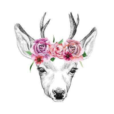 Deer Pencil Drawing with Watercolor Flowers-Maria Sem-Art Print