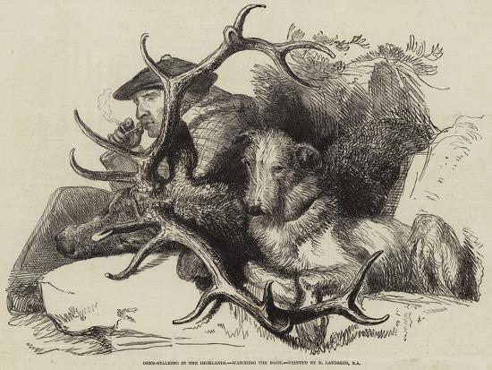 Deer-Stalking in the Highlands, Watching the Body-Edwin Landseer-Giclee Print