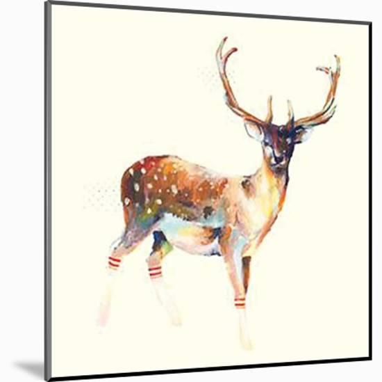 Deer Wearing Gym Socks-Charmaine Olivia-Mounted Print