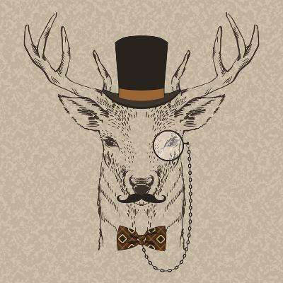 Deer with Hat--Art Print