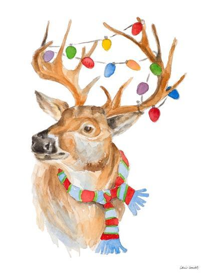 Deer with Lights and Scarf-Lanie Loreth-Art Print