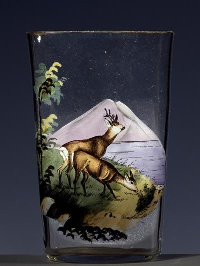 Deers in Mountain Landscape, Enameled Glass, Austria, Early 20th Century--Giclee Print