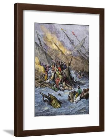 Defeat of the Turkish Fleet by the Holy League under Don Juan of Austria, Battle of Lepanto, 1571--Framed Giclee Print