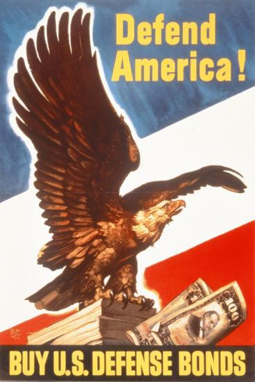 Defend America! Buy Us Defense Bonds, US 2nd World War Poster--Giclee Print