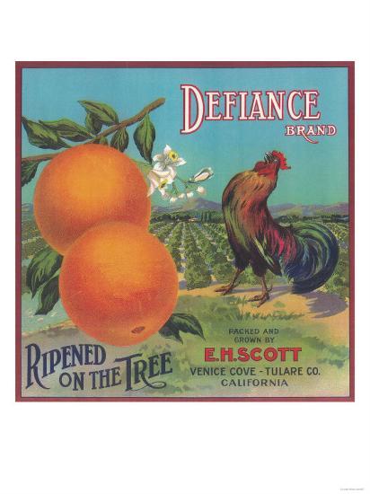 Defiance Orange Label - Venice Cove, CA-Lantern Press-Art Print