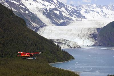Dehavilland Beaver Floatplane Flying Towards Barry Glacier Harriman Fjord Chugach Nf and Mtns Pws-Design Pics Inc-Photographic Print
